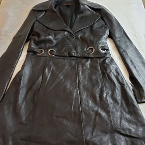 VIA SPIGA Black Belted Lined Leather Trench Coat S